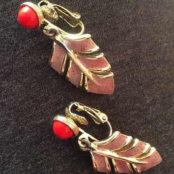 Coral Glass Dangley Earrings, Leaf, Lavender Enamel, Gold Tone Tone SALE