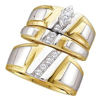 14kt Yellow Gold His & Hers Marquise Diamond Solitaire Matching Bridal Wedding Ring Band Set 1/4 Cttw - FREE Shipping (US/CAN)