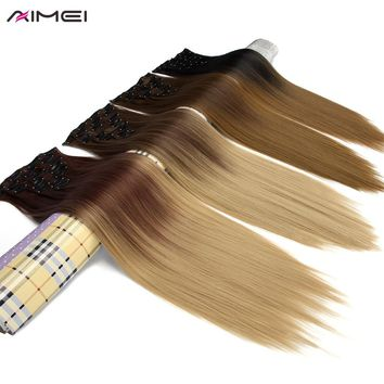 AIMEI 24inch 7pcs/set Full Head Straight Hair Extensions Ombre #1B Silver Grey Synthetic Heat Resistant Fiber Clip in Fake Hair