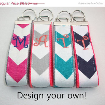 SALE -- Key FOB / KeyChain / Wristlet  - inital monogram on your choice of chevron preppy -  custom design your own