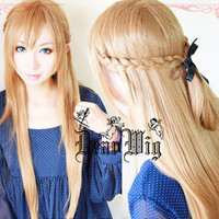 Sword Art Online Asuna Yuuki Braided 80cm Long Pale Gold Brown Cosplay Wig
