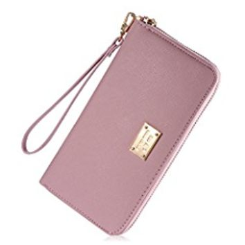 Womens Leather Credit Card Wallet to Organize Your Cash,Passport,Card,and Phone with Removable Wristlet Strap,Zipper Clutch Wallet for women and teen girls