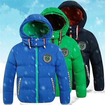2016 children's clothing winter child down cotton-padded coat male child plus velvet thickening wadded jacket with a hood