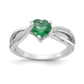 Sterling Silver 7mm Heart Created Emerald Genuine Diamond Accented Infinity Inspired Ring
