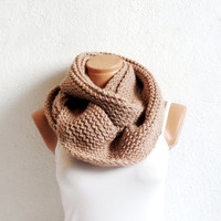 Knitted infinity Scarf. Block Infinity Scarf. Loop Scarf, Circle Scarf, Neck Warmer. Coffee Beige Crochet Infinity
