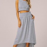 Striped Two Piece Dress - Navy