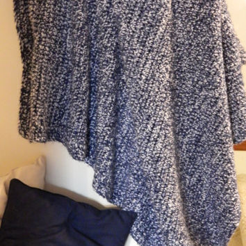 Queen/Full Comforer Size - 6.5 x 7.5 feet -Crochet Blanket - Blue & White Afghan