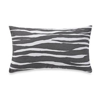 kate spade new york Trellis Blooms Zebra Stripe Oblong Throw Pillow in Charcoal