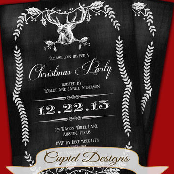 Christmas invitation, Christmas party invitation, Deer Christmas card, christmas chalkboard invitation, printable.