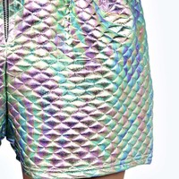 Roxy Quilted Metallic Zip Shorts