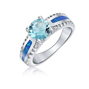 Created Blue Opal CZ Blue Solitaire Engagement Ring Sterling Silver