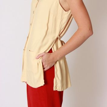 Butter Yellow Tie Back / M