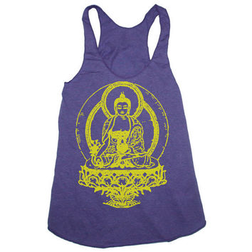 Womens BUDDHA american apparel Tri-Blend Racerback Tank Top S M L (orchid purple)