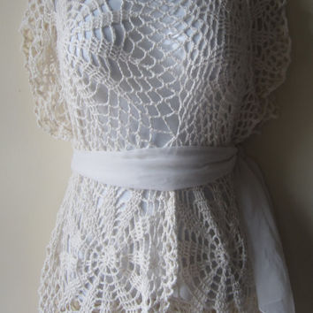 Ivory Lacy crochet sleeveless tunic, festival clothing, beach cover up, Gypsy clothing, bohemian top, hippie