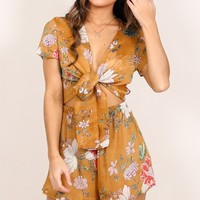 Right Around playsuit in mustard floral Produced By SHOWPO