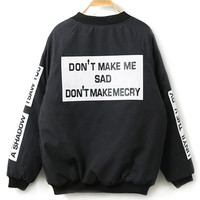 Black Letter Print Long Sleeve Bomber Jacket