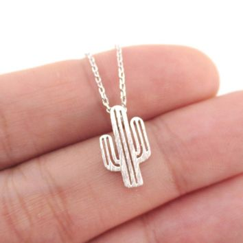 Miniature Arroyo Cactus Shaped Desert Themed Charm Necklace in Silver | DOTOLY