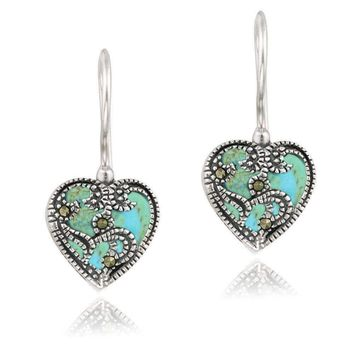 Vintage Turquoise and Sterling Silver Heart Shaped Earrings