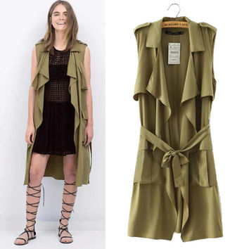 Stylish Sleeveless Waistband Coat Women's Fashion Jacket [5013132228]
