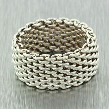 Authentic Tiffany & Co. Sterling Silver 925 Somerset Mesh Ring SZ 6