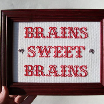 Cross stitch sampler -- Brains Sweet Brains, Home Sweet Home style