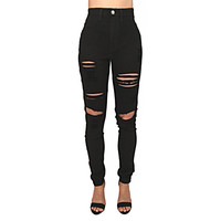 Distressed High Waisted Skinny Pants In Black