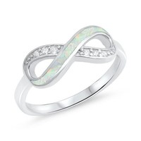 Sterling Silver CZ and White Created Opal Inlay Infinity Ring