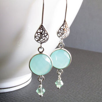 Silver teardrop filigree earrings, aqua chaldedony bezels, 2 inches, sterling silver componments, aqua earrings, silver earrings