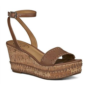 Lennon Wedge Sandal in Cognac by Jack Rogers