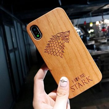Vintage Retro Wood Carving Phone Case For iPhone 6 6S 7 8 Plus X Owl Flowers King Queen Crown Phone Back Cover Wooden Cases