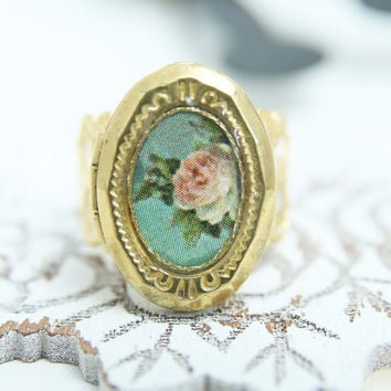 Vintage style ring jewelry, filigree &photo locket pink rose on turquoise, adjustable ring, brass antique style, romantic, victorian, bridal