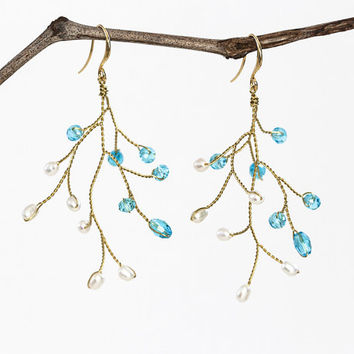 Handmade earrings, Earrings, Gold earrings, Twig earrings, Jewelry, Blue earrings, Vine earrings, Bridal earrings, Bridesmaid gift, For her.