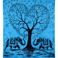 Turquoise Large Elephant  Love Design Tree Tapestry Wall Hanging on RoyalFurnish.com