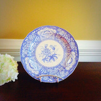 FLORAL SPODE Blue Room Transferware Plate, Vintage China Made in England Collectors Plate, Felix Vintage Market