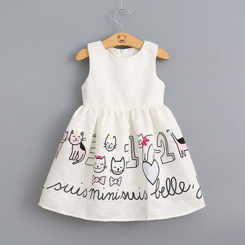 Girls Dress 2016 New Summer Fashion Style Sleeveless Cartoon Cats Pattern Dress White Princess for Toddler