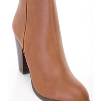 Tan Chunky Heel Ankle Booties Faux Leather