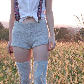 Sweater Shorts & Boot Toppers in Soft Wool and Angora Cable Knit Natural Eco Friendly Repurposed Size S M 4 6 8