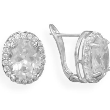 Rhodium Plated Oval Cubic Zirconia Post Clip Earrings