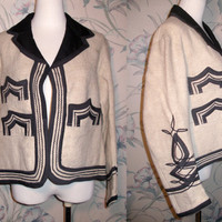 Vintage Embroidered Wool  hand woven  GUATAMALA Tribal Aztec Jacket by MAYAN MODERN Large