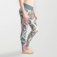 Patterned & Painted Floral Ogee in Vintage Tones Leggings by Micklyn