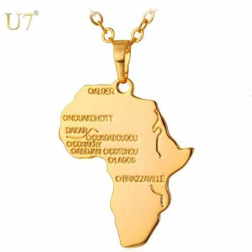 Africa Necklace Gold Color Pendant & Chain African Map