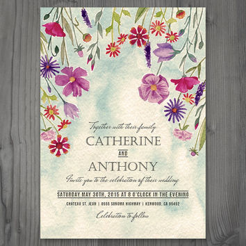 Spring wedding, watercolor invitation, rustic wedding, printable wedding invitation, printed invitation, customize with your wedding colors