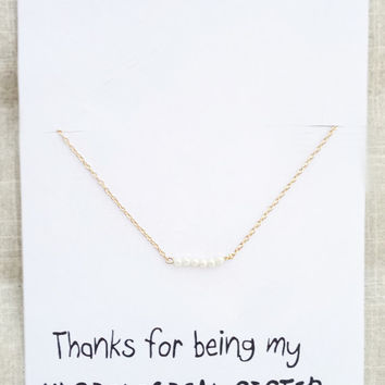 Thank you for Being Unbiological Sister Six Pearls Good Luck Pendant Gold Toned Chain Necklace