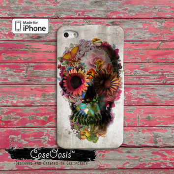 Flower Day of the Dead Sugar Skull Cute Custom iPhone 4 and 4s Case and Custom iPhone 5 and 5s and 5c Case