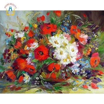 Modern flowers paintings drawing by numbers on canvas craft gift home decoration wall art nordic pictures for the kitchen WYA108
