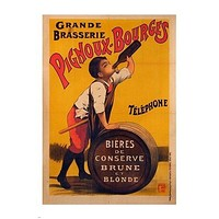 pignoux bourges FRENCH BEER AD boy drinking beer CUTE COLLECTORS 24X36 new