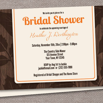 Modern Rustic Autumn Wood Leaves Bridal Shower Invitations - Printed or Printable