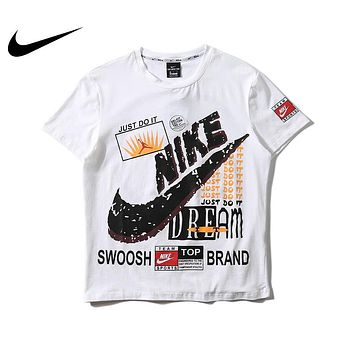 Nike JUST DO IT Summer Women Men Personality Print Cotton T-Shirt Top Blouse White