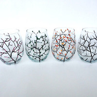Four Seasons stemless hand painted wine glasses
