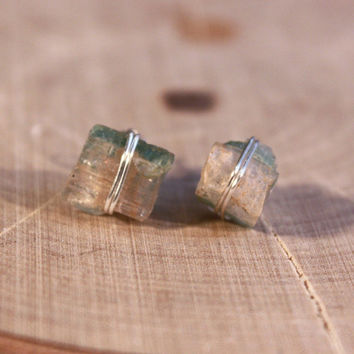 Watermelon Tourmaline Crystal Stud Earrings, Bohemian yoga jewelry, Healing Crystals and Stones, Christmas present for her under 25